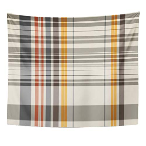 Emvency Wall Tapestry Checkered Abstract Colorful Check Plaid Tattersall Line Color Garment Geometric Gingham Decor Wall Hanging Picnic Bedsheet Blanket 60x50 Inches
