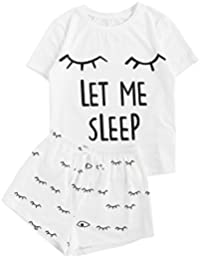 Women's Sleepwear Closed Eyes Print Tee and Shorts Pajama Set