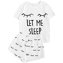 WDIRA Women's Sleepwear Closed Eyes Print Tee and Shorts Pajama Set