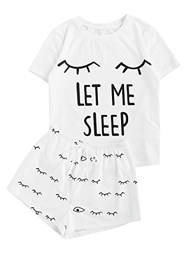 WDIRARA Women's Sleepwear Closed Eyes Print Tee and Shorts Pajama Set White M