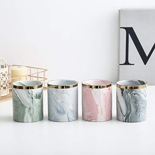 Kingbuy Indoor Flower Plant Pots Decorative Gardening Pot with Metal Stand Modern Marbling Ceramic Planter Iron Holder for Succulents, Air Plants, Cactus,Artificial Flowers Office Desk Pink