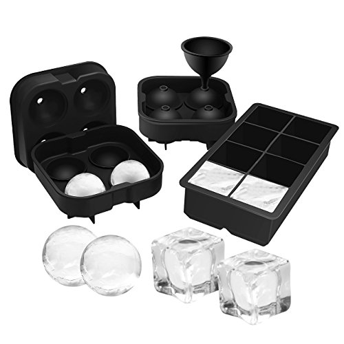 OMorc Ice Cube Trays 3 Pack, Easy-Release 2 Ice Ball and 1 Ice Cube Maker Molds with Removable Funnel, Soft Silicone and Flexible, FDA Certified & BPA Free, Large Ice Great for Beer Whiskey Cocktail (1 Tray Cube Ice)