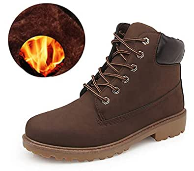 Bebete5858 Leather boots England style with keeping warm velvet Cotton boots Male leather boots Large size boots Booties Brown 7 US