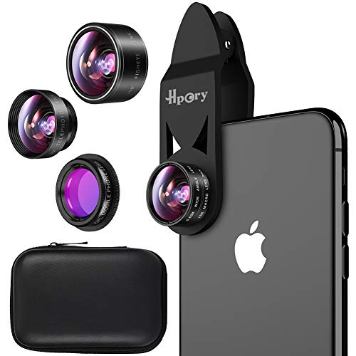 Hpory Phone Camera Lens Kit 5 in 1, Universal Lens Kit iPhone 8 7 Plus 6 & Most Smartphone, 0.63x Wide Angle Lens+15x Macro Lens +198° Fisheye Lens +CPL Lens+ 2X Telephone Lens ()