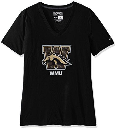 (NCAA Western Michigan Broncos Adult Women Lined Logo S/Ultimate V Tee,Large,black)