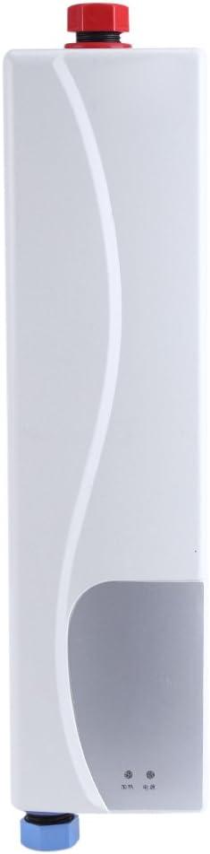 Fdit Socialme-EU Mini Calentador de Agua Instantáneo Eléctrico sin Tanque con Válvula de Alivio de Presión 220V 3000W para Cocina Baño(Blanco)