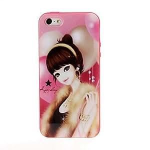 feliz belleza chica tpu del gel suave de la contraportada del caso del capítulo de color rojo para el iphone 5/5s