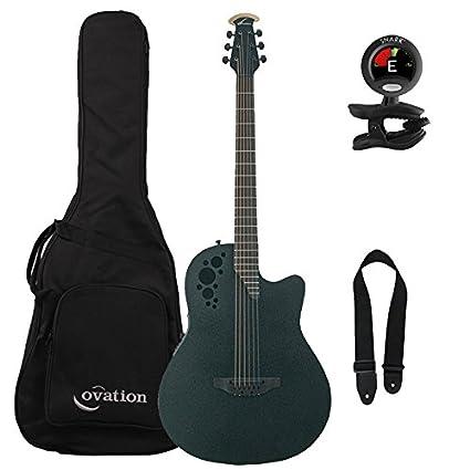 Ovation ds778tx-5 D Scaled acústica guitarra eléctrica con bolsa de concierto, sintonizador,
