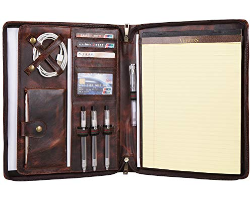 Handmade Vintage Leather Portfolio Case Zippered Business Organizer Tablet Folio Folder with Letter Size Notepad Padfolio, Oil Tanned Cow Leather, Gift for Women & Men (Custom)