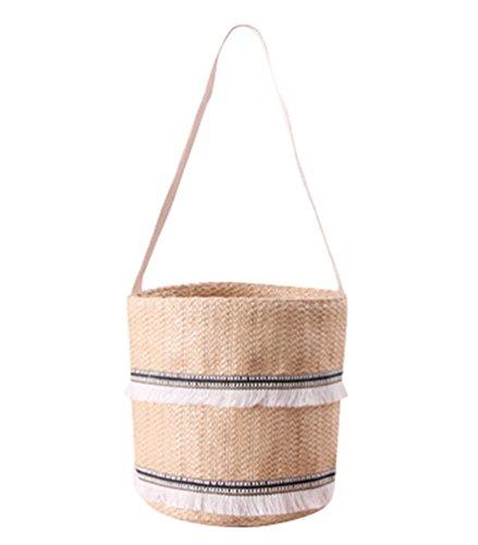 Khaki YOUJIA Summer Straw Crossbody Bucket Tote Holiday Black 5 Bag Ribbon 16 Light Drawstring 1 Bags Women 23cm Beach 4rxqBw84U