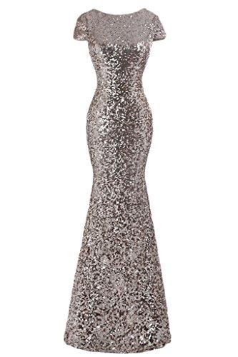 Sunvary 2016 Rund Paillette Kurzarm Meerjungfrau Abendkleider Lang Partykleider Abendmode Silver 9RzJgWWYnc