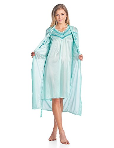 (Casual Nights Women's Satin 2 Piece Robe and Nightgown Set - Embroidered Green -)