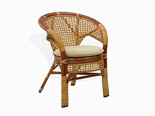 Pelangi Lounge Chair Natural Rattan Wicker Handmade Design with Thick Cream Cushion, Cognac For Sale
