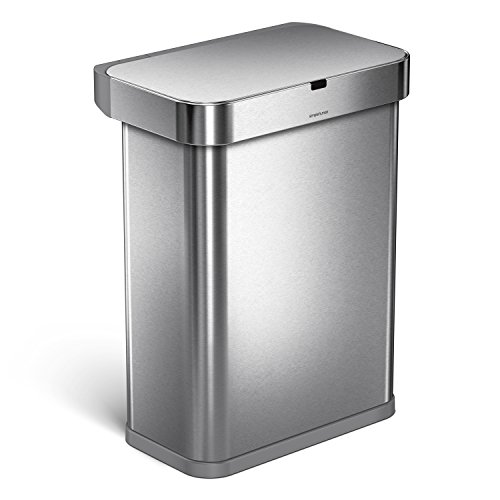 simplehuman 58 Liter/15.3 Gallon 58L Stainless Steel Touch-Free Rectangular Kitchen Sensor Trash Can with Voice and Motion Sensor, Voice Activated, Brushed Stainless Steel (Hands Free Trash Can)