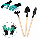 PartyYeah 4-Pack Garden Tool Set - Garden Genie Gloves with Digging Right Claws+Triangle shovel+Square shovel+Rake for Women Shovel Rake Spade Wood Stick, Great for Planting, Digging and Weeding