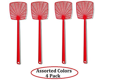 Plastic Fly Swatter - UrbHome Hand Fly Swatters, Pack of 4 (Assorted Colors) (4 Pack)