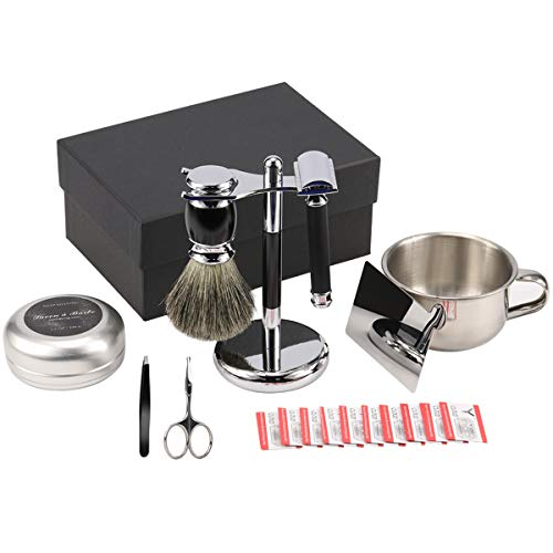 Wet Shaving & Grooming Set Shaving Gift Kit for Men - Safety Razor with 10 Replacement Blades,Chrome Stand,Shaving Brush,Bowl,Soap,Stainless Steel Mirror,Tweezers,Rounded Tip Nose Hair Scissors