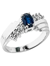 Polished 10k White Gold Diamond-Accented Layered Band 7-Stone Blue Sapphire Ring