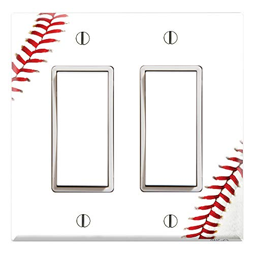 Graphics Wallplates - Baseball - Dual Rocker/GFCI Outlet Wall Plate Cover]()
