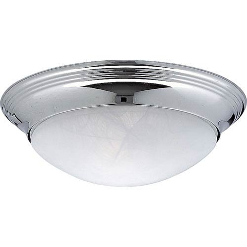 Progress Lighting P3688-15 1-Light Close-To-Ceiling Fixture with Etched Alabaster Style Twist On Glass, Polished Chrome