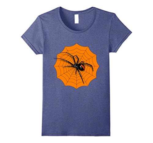 Womens Spider Web Halloween 2017 T-Shirt Red Back Widow Shirt Large Heather (Scary Movies On Halloween Night 2017)