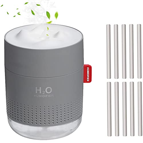 Mini Plant Humidifier, Indoor 500ml Small Cool Mist Portable Personal Desktop Humidifier with 10 Cotton Filter Sticks…