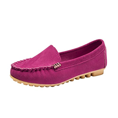 Fheaven Womens Flats Comfy Ballet Shoes Soft Slip-On Casual Driving Boat Shoes Hot Pink sZkVEH