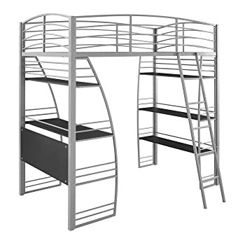 dhp studio loft bunk bed over desk and bookcase with metal frame twin gray - Metal Frame Loft Bed