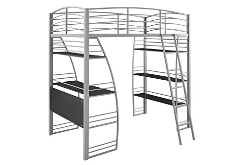 DHP Studio Loft Bunk Bed Over Desk and Bookcase with Metal Frame, Twin, Gray by DHP