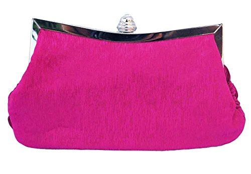 Bridal Clutch Fuchsia Bridesmaid Chicastic Wedding Rhinestone Pink Pleated Purse Braided and Evening studded PxxqT0wB4