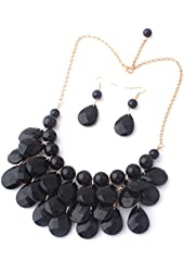 Easykan Women's Alloy Chain Acrylic Chunky Statement Bib Necklace 18""