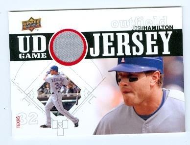 2010 Upper Deck Player - Autograph Warehouse 343633 Josh Hamilton Player Worn Jersey Patch Baseball Card - Texas Rangers 67 2010 Upper Deck No. UDGJJH