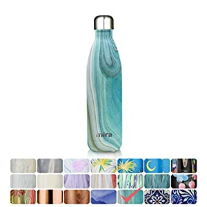MIRA 25 Oz Vacuum Insulated Travel Water Bottle | Leak-proof Double Walled Stainless Steel Cola Shape Sports Water Bottle | No Sweating, Keeps Your Drink Hot & Cold | 750 ml Teal Granite