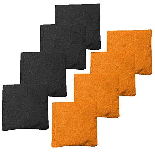 Play Platoon Premium Weather Resistant Duckcloth Cornhole Bags - Set of 8 Bean Bags for Corn Hole Game - Regulation Size & Weight - 4 Orange & 4 Black