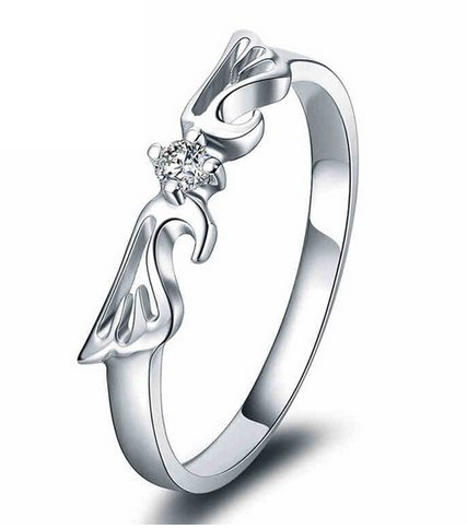 Gowe Ailes d'ange 100% pure 18K Or Blanc solide Alliance Bandes pour femme 0.06CT SI/H