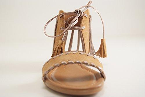 Reqins - Zapatos de vestir para mujer marrón claro