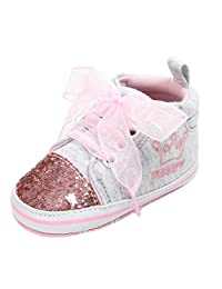 KONFA Toddler Infant Baby Boys Girls Sequins Lace Up Soft Sole Boots,for 0-18 Months,Kids First Walkers Premium Crib Shoes