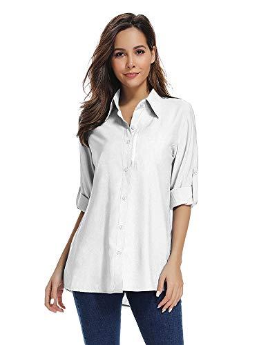Have Uv Protection - Asfixiado Women's Quick Dry Sun UV Protection Convertible Long Sleeve Shirts for Hiking Camping Fishing Sailing #5019 White-XL