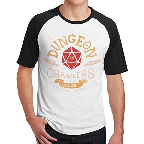 TiMMzzK Dungeon Crawlers Club Men's Short Sleeve Raglan Baseball Tshirts Black L -