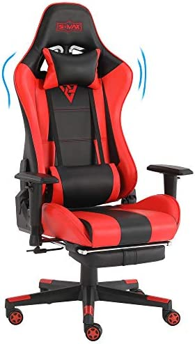 SMAX Gaming Chair Racing Office Computer Ergonomic Video Game Chairs PU Leather Desk Recliner Chair Headrest and Massager Lumbar Support