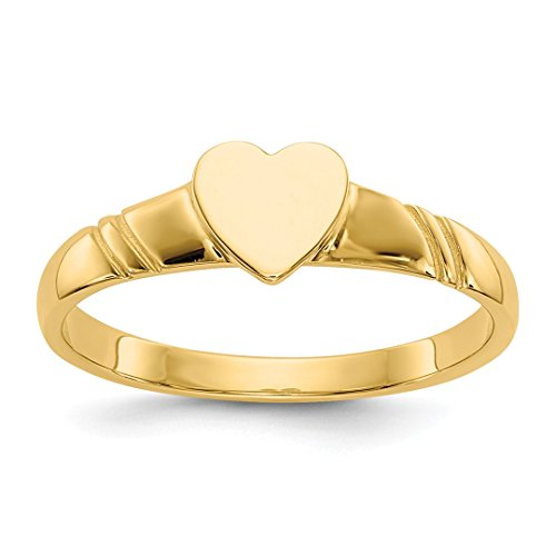 ICE CARATS 14kt Yellow Gold Childrens Heart Band Ring Size 3.00 Baby Fine Jewelry Ideal Gifts For Women Gift Set From Heart