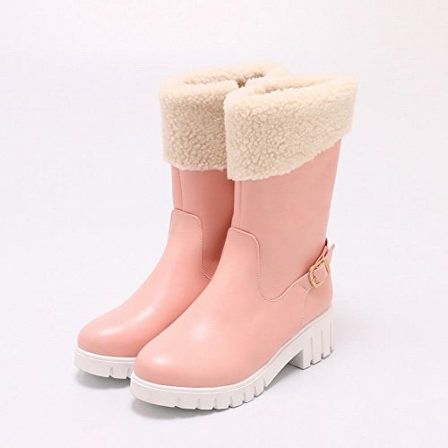 Carolbar Womens Sweet Zip Faux Fur Winter Warm Comfort Snow Boots Pink k4QpgcPjr