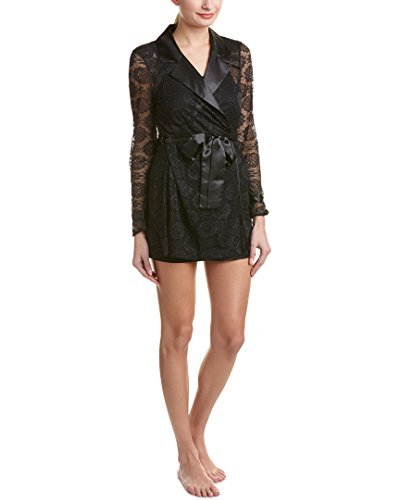 Betsey Johnson Women's Satin and Lace Glam Trench Robe, Raven (Betsey Johnson Satin Robe)