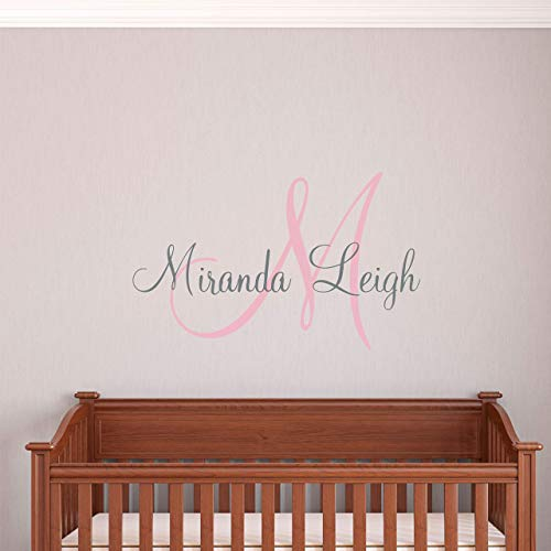 - Custom Name Girls Boys Wall Decal Monogram - Personalized Name Wall Decal Sticker Art - Name Vinyl Wall Decal - Name and Initial Decal - Nursery Room Wall Decor - Baby Name Decal