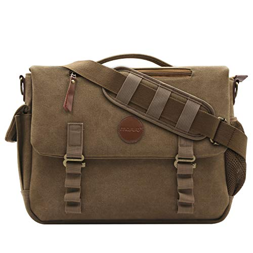 MOSISO Canvas Messenger Bag (up to 15.6 Inch) with Handle and Various Pockets Compatible Laptop, Notebook, MacBook, Ultrabook and Chromebook Computers, Vintage Brown