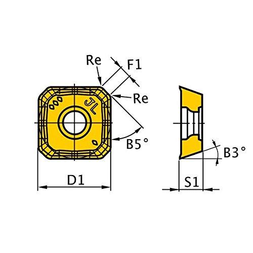 0.059 Corner Radius Class M Square Round Honing Mitsubishi Materials SEET13T3AGEN-JL MP6120 Coated Carbide Milling Insert Pack of 10