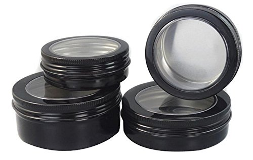 6PCS Round Black With Clear Window Aluminium Screw Tin Bottl