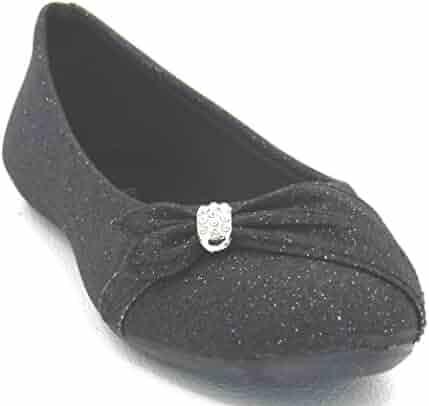 9a6cdff3f5eba Womens Glitter Sparkle Ballet Rhinestone Flat Ballerina Ladies Evening Slip  on Shoe