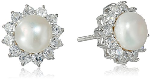 Hallmark Jewelry Sterling Silver Cubic Zirconia & Pearl Starburst Stud Earrings