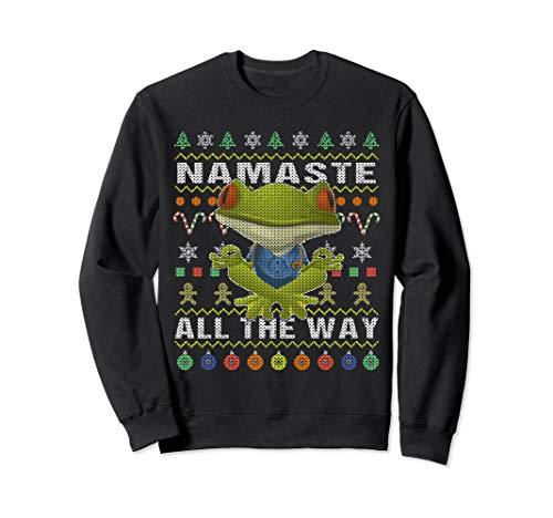 Frog Namaste Ugly Christmas Sweatshirt Namaste All The Way